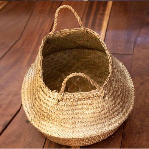 Basket, Gold, Seagrass