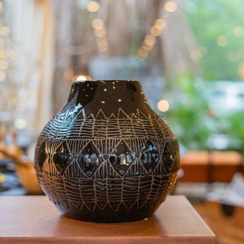 Vase, Black, Stoneware
