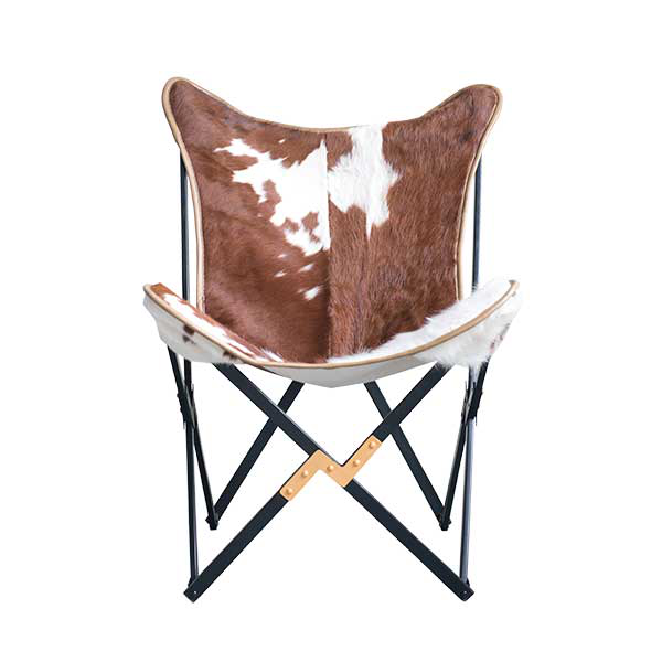 Tilde Butterfly Chair, Brown, Cow Hairon