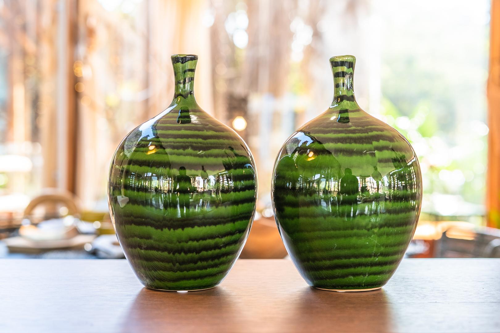 Vase Green Stoneware