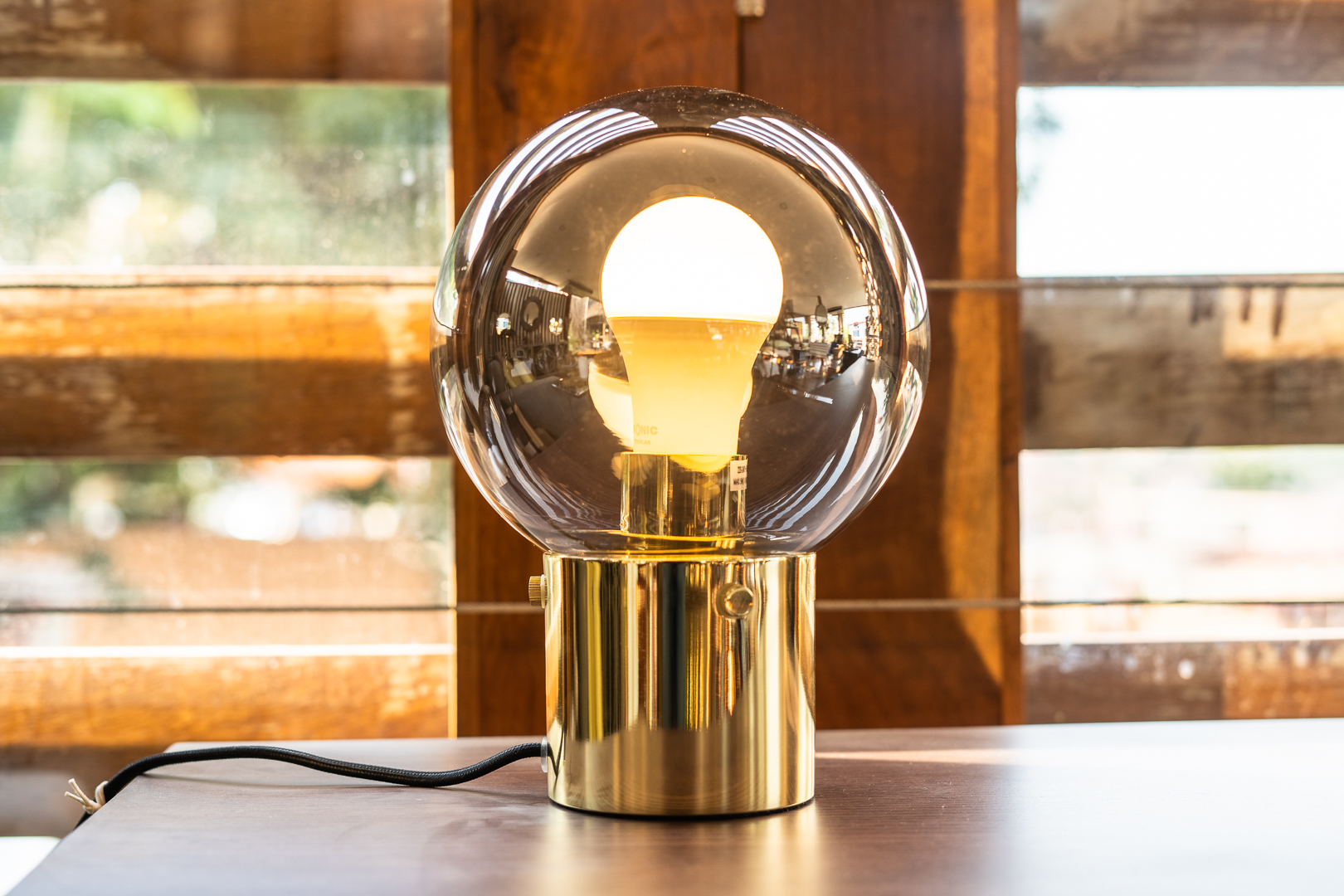 Table lamp, Gold, Glass