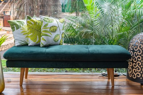 Asher Bench, Green, Polyester