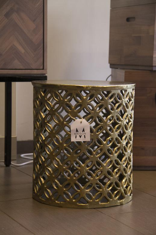 Stool round with hammered top brass