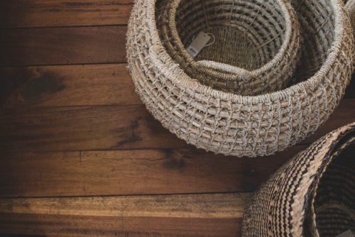 Basket nature seagrass 2in 1 plain