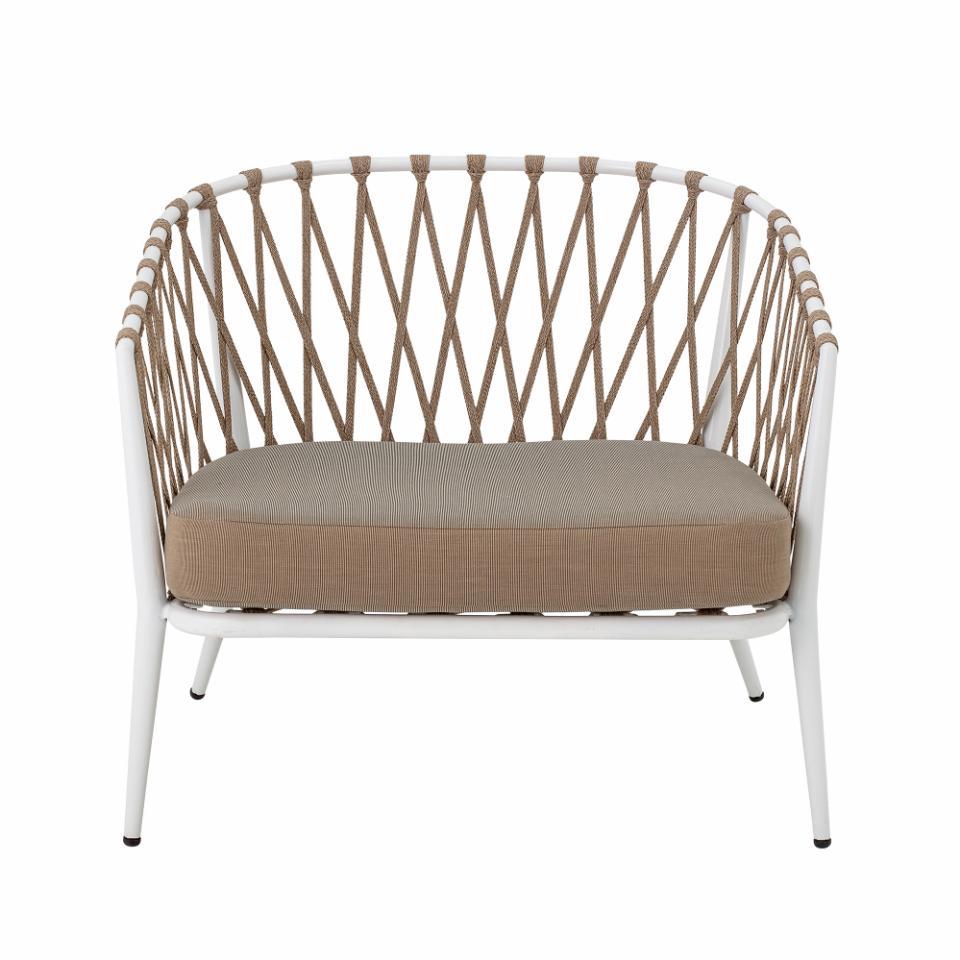 Cia Lounge Chair, White, Metal