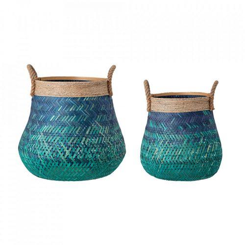 Basket, Blue, Bamboo (Set of 2)