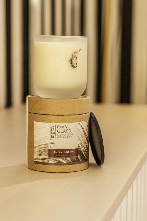 Soy wax candle in glass with lid