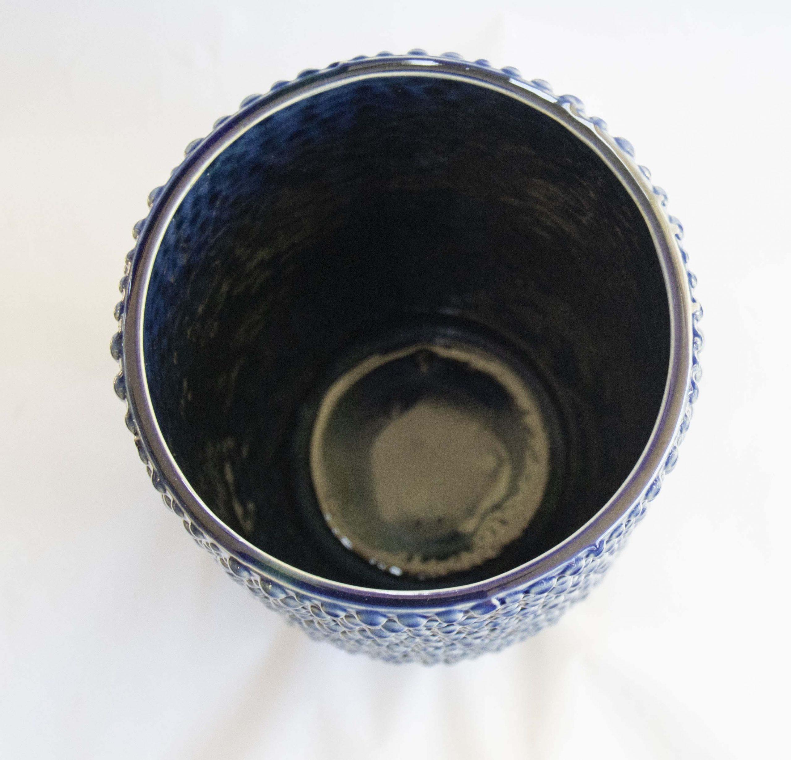 vase blue stoneware rough