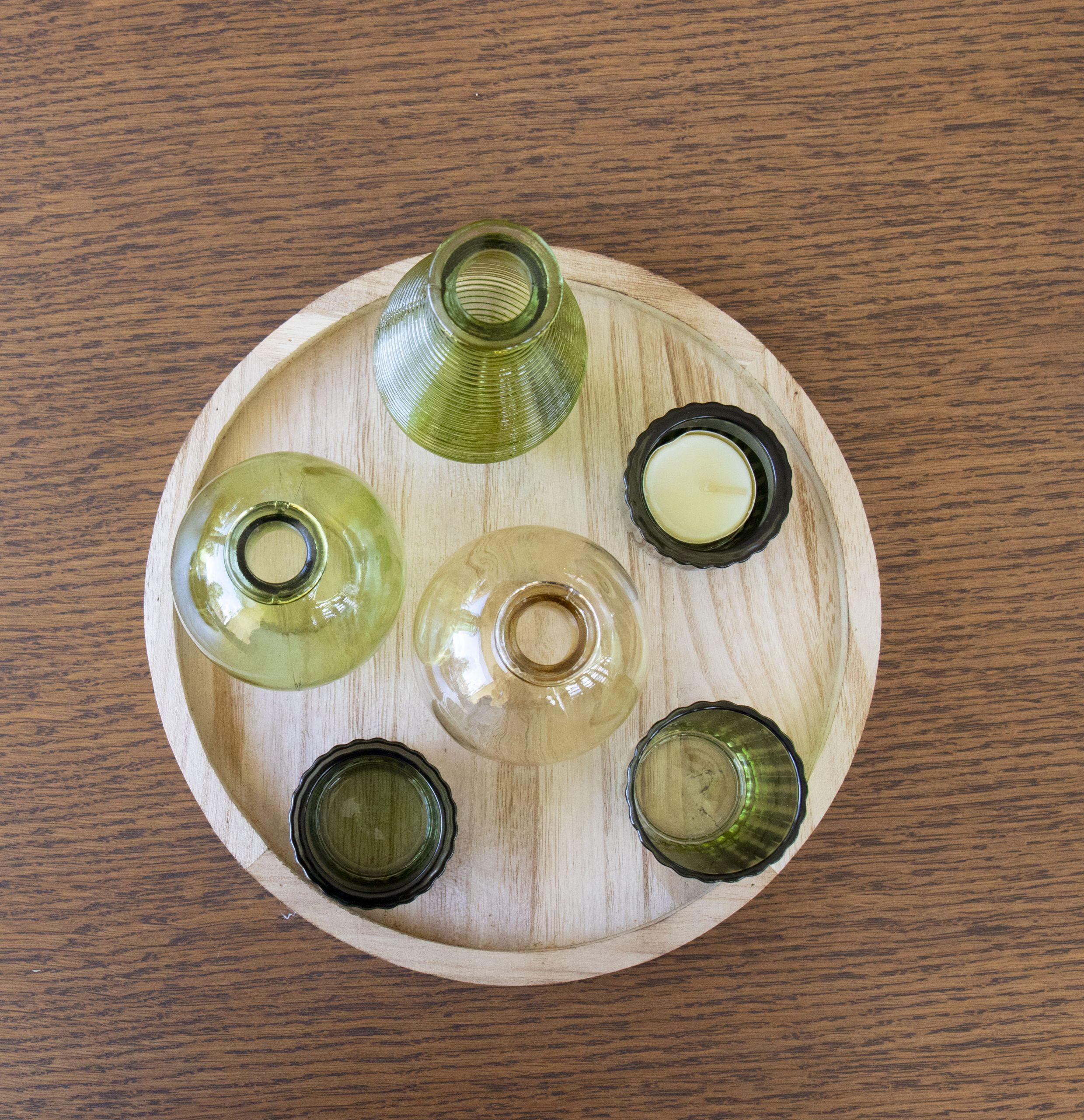 votive green glass set