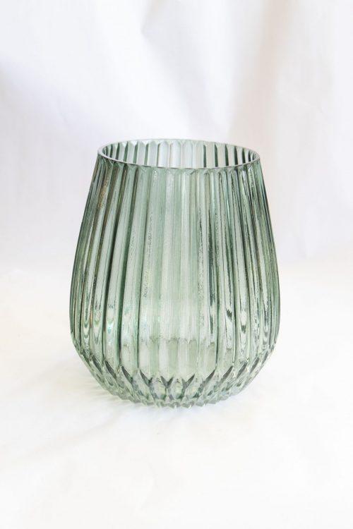 votive green glass short